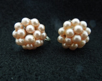 Vintage Screw Back Earrings.  Cluster of Pink Faux Pearls.  Small