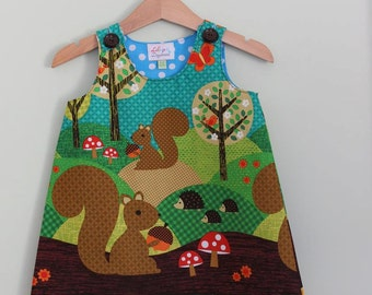 Girls Squirrel Dress - Made to order ages 3mths to 5yrs