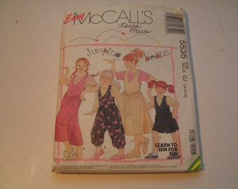 Vintage McCalls Pattern  5535 Jumping beans Girls Jumpsuit in three lengths Jumper and T Shirt