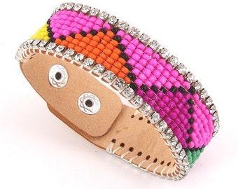Aztec Leather Bracelet Jewelry Cuff