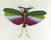 Bead Embroidered Cricket in Flight