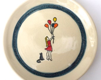 10 inch Ceramic Plate- Girl with Balloons and Cat