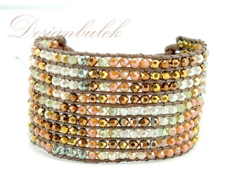 Brown crystal wrap bracelet