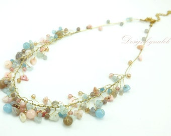 Rose quartz,agate and crystal hand knotted on silk necklace.