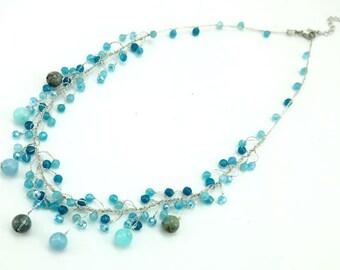 Quartz,crystal on silk necklace.