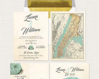 Elegant Vintage Rockrose Succulent Wedding Invitation and RSVP Card with Vintage Map