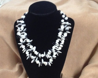 Vintage W. Germany Black and White Plastic Beaded Two Strand Necklace