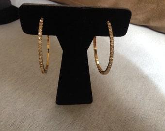 Vintage Goldtone Rhinestone Hoop Earrings