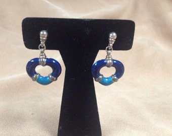Vintage Sterling Silver Blue and Turquoise Heart Design Dangle Earrings