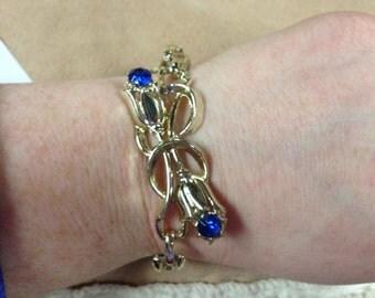 Vintage Goldtone with Floral Design and Blue Gemstone Bracelet, 6.25'' Long