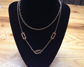 Vintage NAPIER Goldtone Necklace with Square Accent Design, Length 36''''