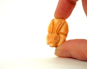 Antique Carved Bone Rabbit or Bunny Bead or Button for Inro