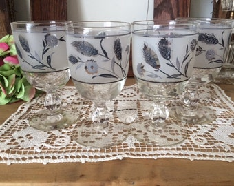 SALE!-SIX (6) Mid Century Wine Glasses: Stemware/ Barware Made by Libbey in the Grey Wheat Design.