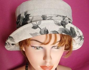 Summer Hat - Garden Hat- Beach Hat - Linen Hat  Cloche -  nature
