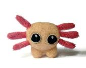 Amigurumi Axolotl Soft Sculpture, Needle Felted Miniature Amphibian Plush ('Jasper')
