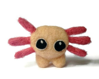 Amigurumi Axolotl Soft Sculpture, Needle Felted Miniature Amphibian Plush ('Jasper')