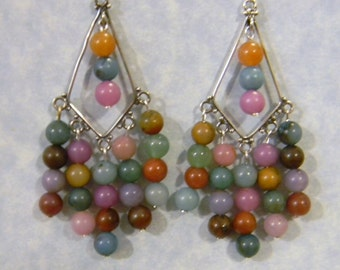 Fancy Jasper and Dyed Agate Chandelier Earrings