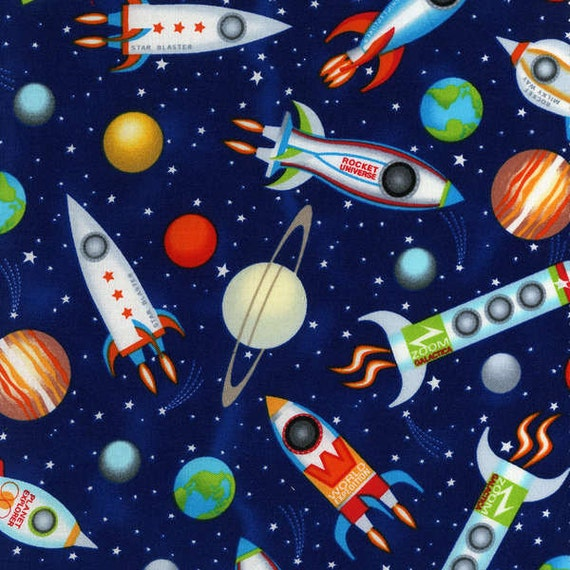 timeless treasures fabric rocket ships on navy