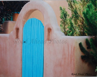 5 x 7 matted photograph, Southwest photo, light blue door, Adobe, Taos New Mexico