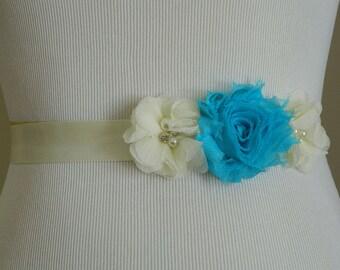 Vintage Inspired Bridal Sash,Ivory With Turquoise Shabby Chiffon Flower Sash,Belt Ribbon,Bridesmaids,