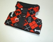 Scotty Dog Argyle Comfort Pet Harness in Red and Black - Medium - Fleece Lined