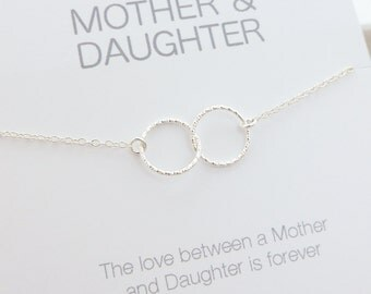 Mother Daughter Necklace - Mother Daughter Jewelry - Entwined Eternity Circle Rings Necklace - Light Hearted Connected Circles Necklace