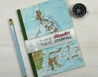NOTEBOOK Phillipines, Borneo, 5,7x8,2inch, 48 p. RULED travel journal, diary, notebook, atlas, map, vintage