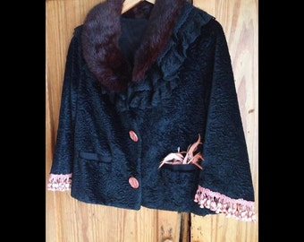 Anais-Vintage Faux Curly Lamb Jkt. with European Pink Tassel Trim, Vintage Buttons, Feathers, Layered Lace Collars, Burgundy-ish Fur Collar