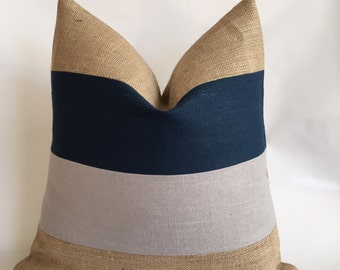 Navy and Light Gray Linen/Cotton Fabric and Natural Burlap Striped Pillow Cover