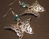 Silver and Blue Filigree Butterfly Earrings