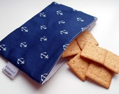 Reusable Snack & Sandwich Bag -- Navy Anchors Eco-Friendly