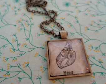 Vintage Dictionary Illustration Necklace: Heart