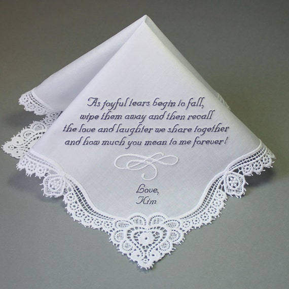 wedding handkerchief embroidered to mother of bride