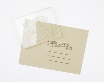 Please Deliver To Banner with Lines Stamp - please deliver to - snail mail stamp - addressing stamp - banner stamp - K0043