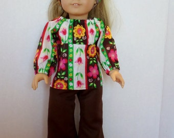 Julie 1970 Hippie  bell bottom pants and top fits American girl 18 inch doll clothes