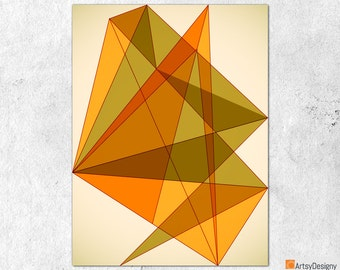Mid Century Modern Art - Triangles 2 - Abstract Contemporary Modern Art Giclee Print - Small Medium Large Home Decor Art Prints