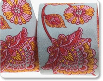 "SALE--TULA PINK 1-7/8"" ribbon--Strawberry Deer Me Flower on Aqua--price is per yard"
