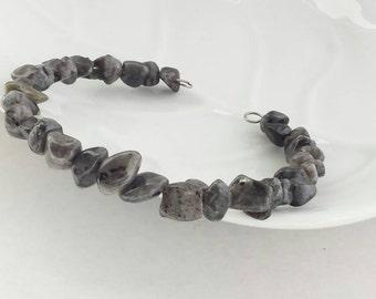 Men's Labradorite Bracelet , Rough stone gift ideas, Parkinson Gray Awareness, Rustic Gemstone Jewelry for Him