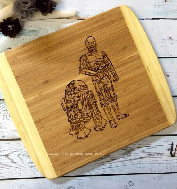 C 3po And R2 D2 Cutting Board Man Cave Gift Unique Mens