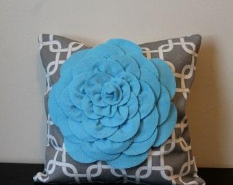 Decorative Throw Pillow Cover, Light Blue Chrysanthemum Flower Pillow, Bedroom Pillow, Accent Pillow, Toss Pillow, 14x14,16x16,Sofa Pillow