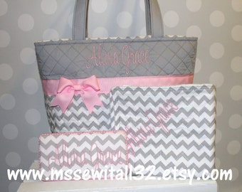 XL Quilted Gray Chevron / Zig Zag Diaper Bag Set (You Pick the Accent Color)