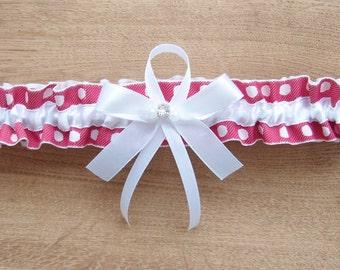 Red wedding garter, white garter, red garter, dots wedding garter, white wedding garter, toss garter, keepsake garter, bridal garter
