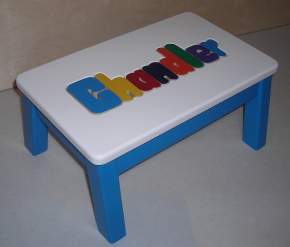 Wooden Personalized Wooden Name Puzzle Step Stool Primary