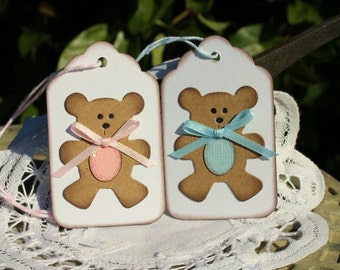 Baby Gift Tags - Set of (8) - Bear Gift Tags - Shower Gift Tags - Welcome Baby Tag