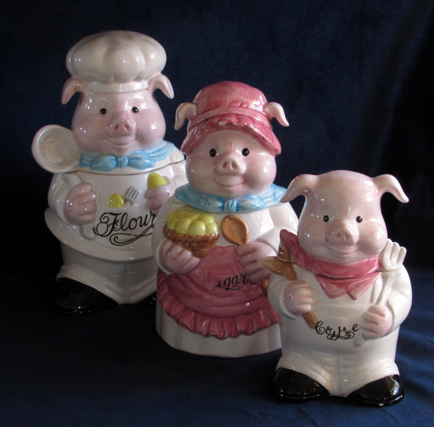 pig family canisters set mid century anthropomorphic vintage