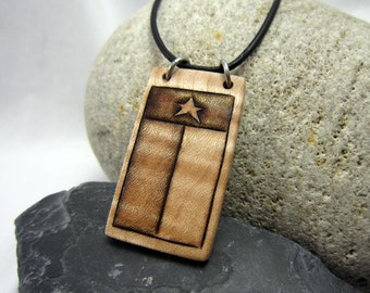 Rustic Texas Flag Necklace, Rustic Texas Jewelry, Country Western Necklace, Leather Necklace with Pendant