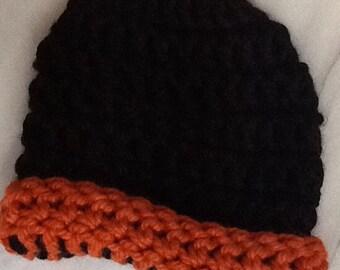 0103 Handmade crochet child's hat (beanie). Black & Pumpkin SF Giants
