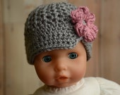 READY To SHIP! Sale! Newborn Grey Crochet Hat - Grey and Dusty Rose Brimmed Hat - Crochet Spring Hat - Newborn Hat - Baby Crochet Hat