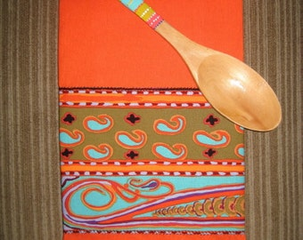 Hand Painted Wooden Spoon and Towel Set