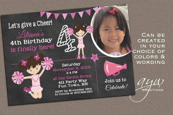 Cheerleading Birthday Party Invitation Printable Cheerleader Party